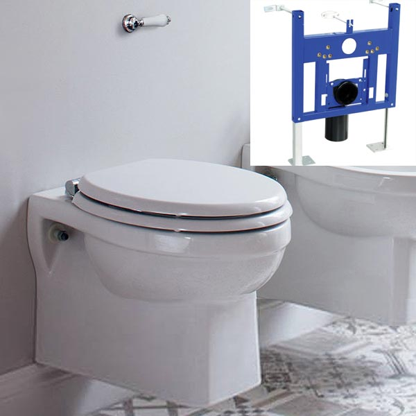 Burlington Traditional Concealed Cistern inc Ceramic Lever & Wall Hung Support Frame Large Image