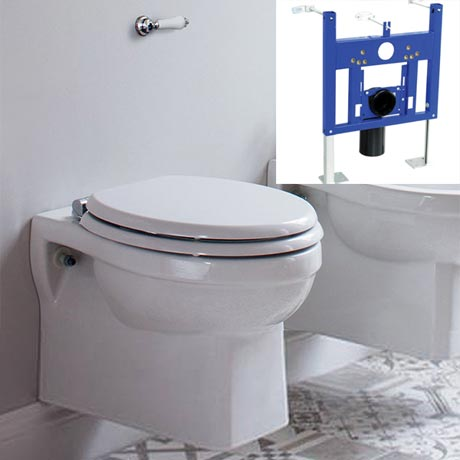 Burlington Traditional Concealed Cistern inc Ceramic Lever & Wall Hung Support Frame