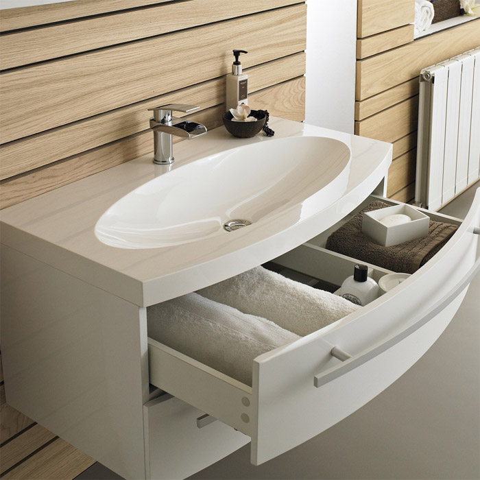 Hudson Reed Vanguard Basin & Cabinet - White Gloss W920 x D520mm - FVA002 Profile Large Image