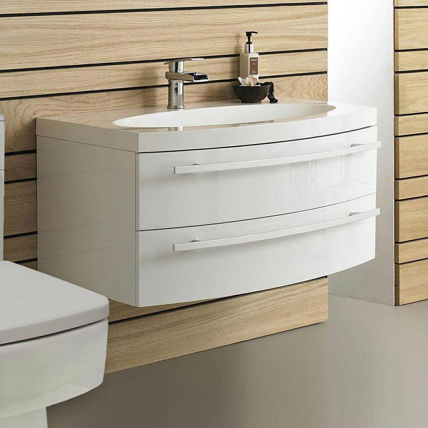 Hudson Reed Vanguard Basin & Cabinet - White Gloss W920 x D520mm - FVA002 Large Image