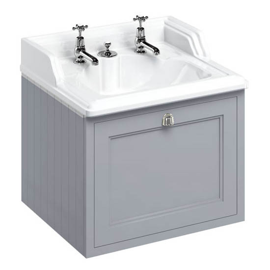 Burlington Wall Hung 65 Single Drawer Vanity Unit & Classic Invisible Overflow/Waste Basin (Classic Grey - 2 Tap Hole)