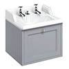 Burlington Wall Hung 65 Single Drawer Vanity Unit & Classic Invisible Overflow/Waste Basin (Classic Grey - 2 Tap Hole) profile small image view 1