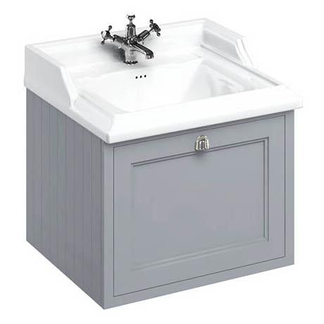 Burlington Wall Hung 65 Single Drawer Vanity Unit & Classic Basin - Classic Grey