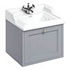 Burlington Wall Hung 65 Single Drawer Vanity Unit & Classic Basin - Classic Grey profile small image view 1