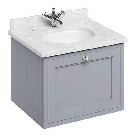 Burlington Wall Hung 65 Single Drawer Vanity Unit & Minerva Worktop with Basin - Classic Grey