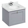 Burlington Wall Hung 65 Single Drawer Vanity Unit & Minerva Worktop with Basin - Classic Grey profile small image view 1