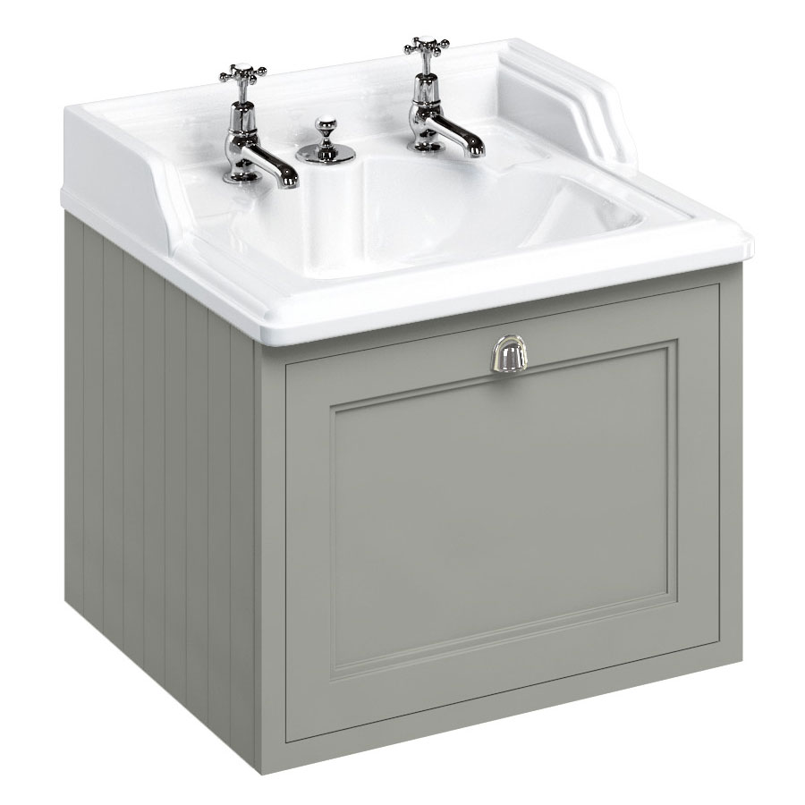 Burlington Wall Hung 65 Single Drawer Vanity Unit & Classic Invisible Overflow/Waste Basin (Dark Olive - 2 Tap Hole) profile large image view 1