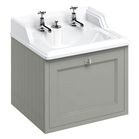 Burlington Wall Hung 65 Single Drawer Vanity Unit & Classic Invisible Overflow/Waste Basin (Dark Oli