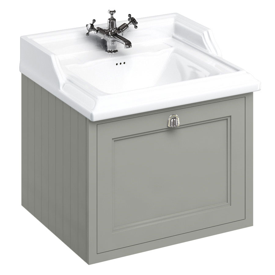 Burlington Wall Hung 65 Single Drawer Vanity Unit & Classic Basin - Dark Olive Large Image
