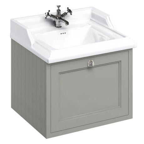 Burlington Wall Hung 65 Single Drawer Vanity Unit & Classic Basin - Dark Olive