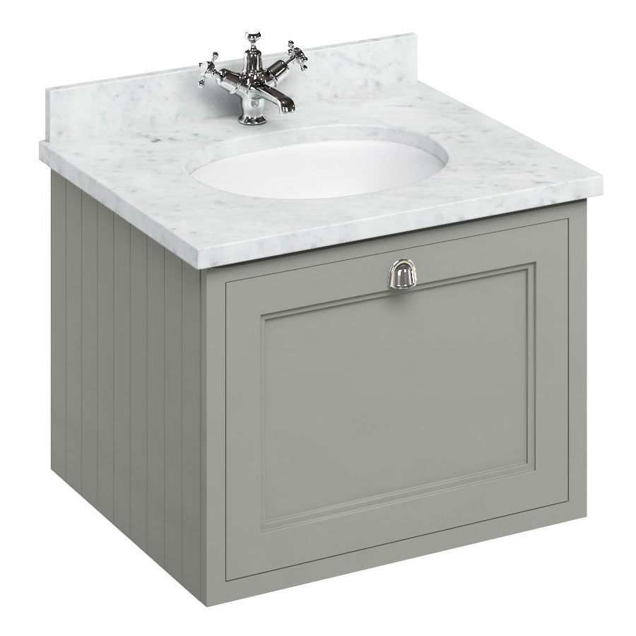 Burlington Wall Hung 65 Single Drawer Vanity Unit & Minerva Worktop with Basin - Dark Olive profile large image view 1