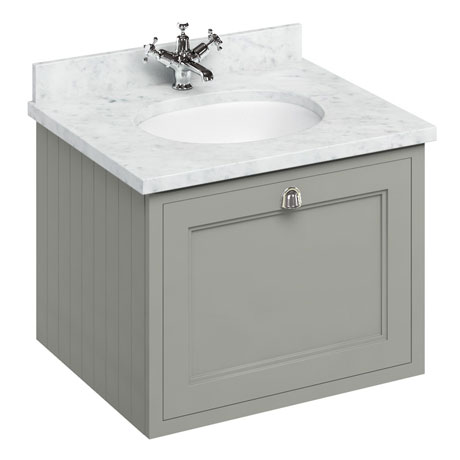 Burlington Wall Hung 65 Single Drawer Vanity Unit & Minerva Worktop with Basin - Dark Olive
