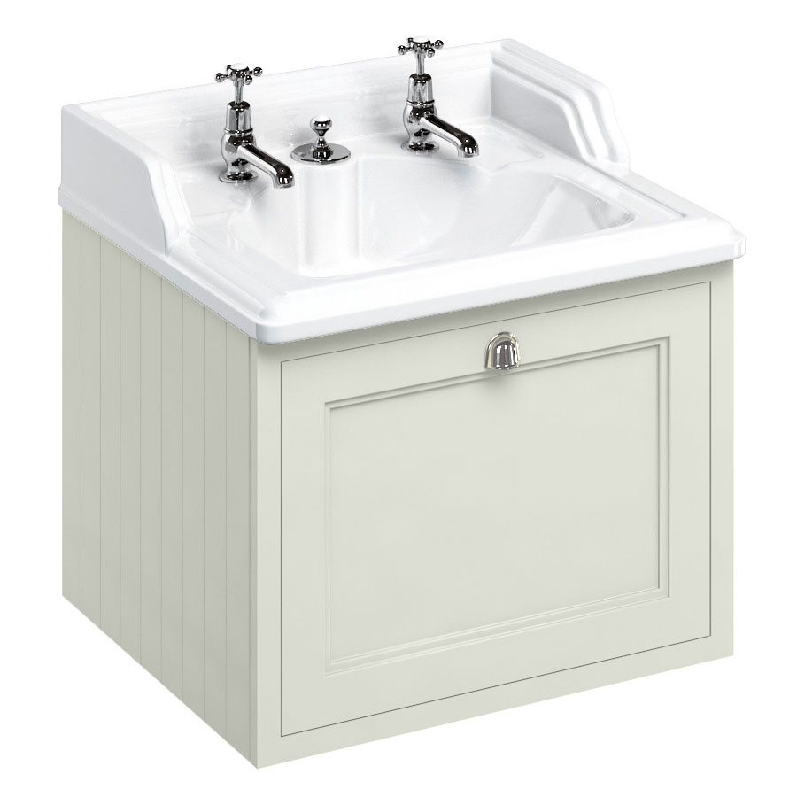 Burlington Wall Hung 65 Single Drawer Vanity Unit & Classic Invisible Overflow/Waste Basin (Sand - 2 Tap Hole) profile large image view 1