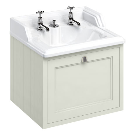 Burlington Wall Hung 65 Single Drawer Vanity Unit & Classic Invisible Overflow/Waste Basin (Sand - 2