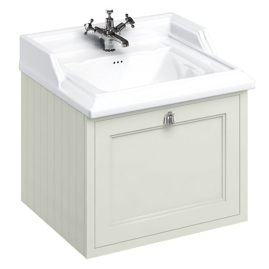 Burlington Wall Hung 65 Single Drawer Vanity Unit & Classic Basin - Sand profile large image view 1