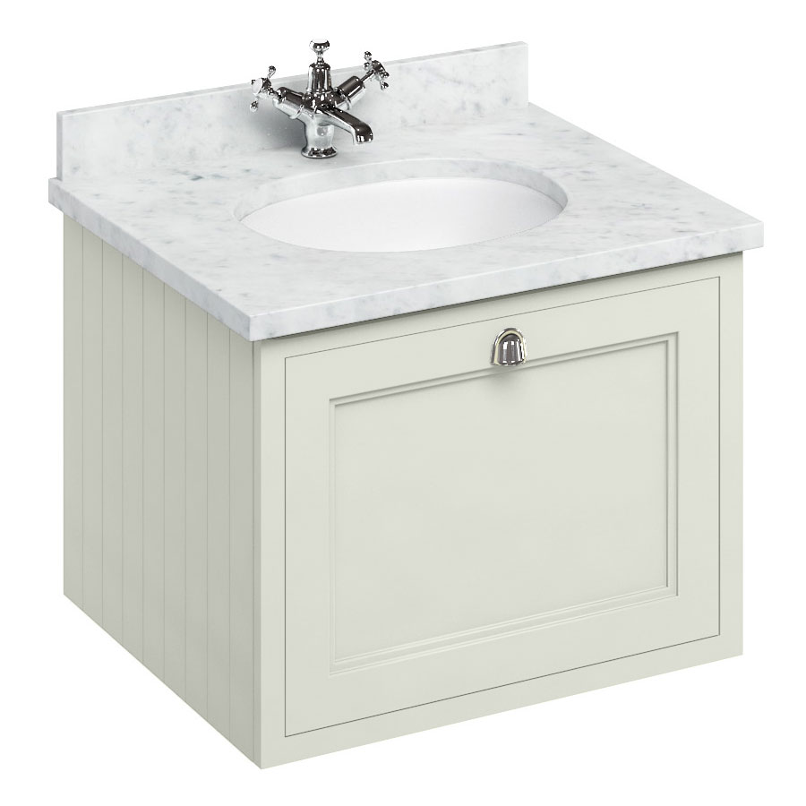 Burlington Wall Hung 65 Single Drawer Vanity Unit & Minerva Worktop with Basin - Sand Large Image