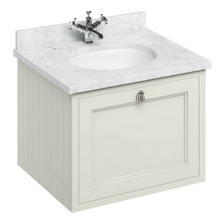 Burlington Wall Hung 65 Single Drawer Vanity Unit & Minerva Worktop with Basin - Sand