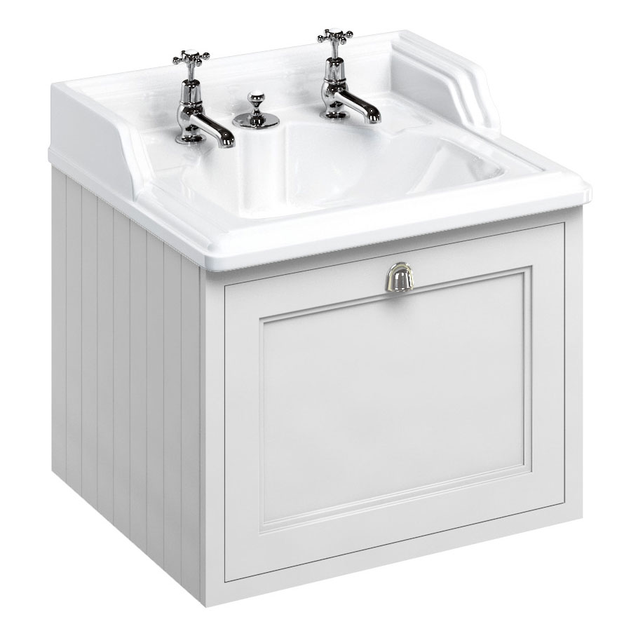 Burlington Wall Hung 65 Single Drawer Vanity Unit & Classic Invisible Overflow/Waste Basin (Matt White - 2 Tap Hole) Large Image