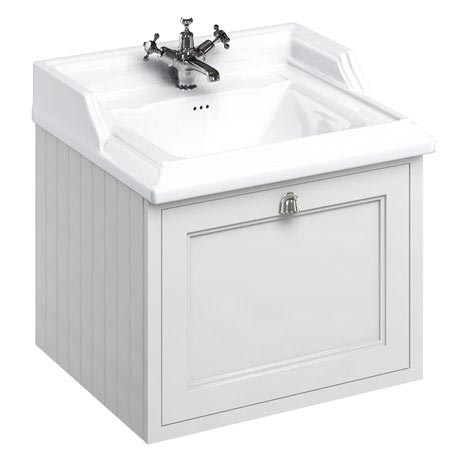 Burlington Wall Hung 65 Single Drawer Vanity Unit & Classic Basin - Matt White