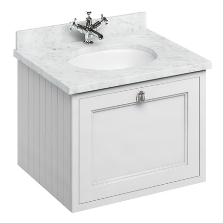 Burlington Wall Hung 65 Single Drawer Vanity Unit & Minerva Worktop with Basin - Matt White