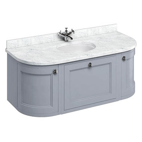 Burlington Wall Hung 134 Curved Vanity Unit & Minerva Worktop with Basin - Classic Grey