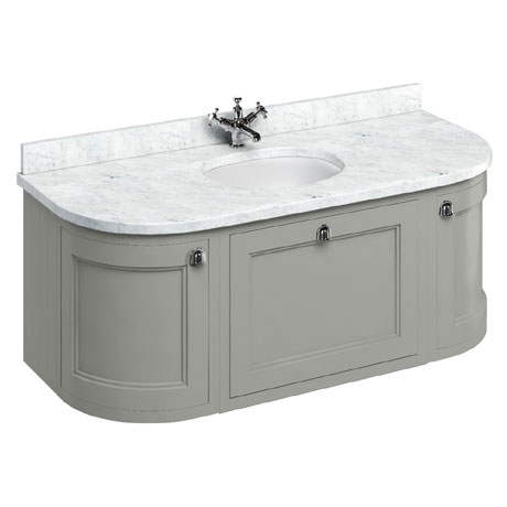 Burlington Wall Hung 134 Curved Vanity Unit & Minerva Worktop with Basin - Dark Olive