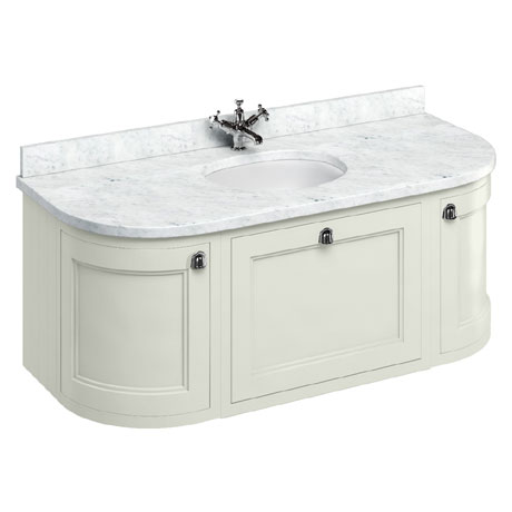 Burlington Wall Hung 134 Curved Vanity Unit & Minerva Worktop with Basin - Sand