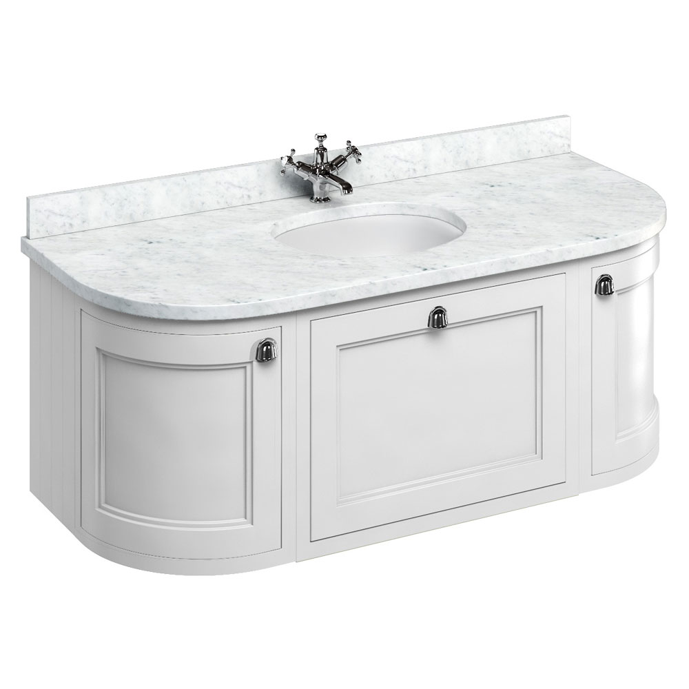 Burlington Wall Hung 134 Curved Vanity Unit & Minerva Worktop with Basin - Matt White Large Image