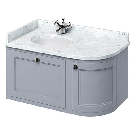 Burlington Wall Hung 100 Curved Corner Vanity Unit & Minerva Worktop with Basin (Classic Grey - Left