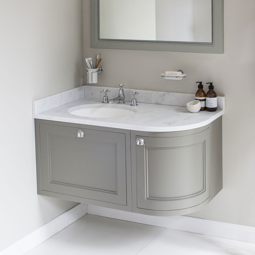 Burlington Wall Hung 100 Curved Corner Vanity Unit & Minerva Worktop with Basin (Matt White - Left Hand) profile large image view 3