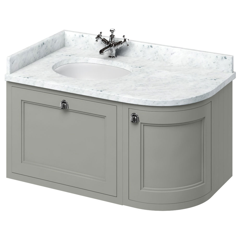Burlington Wall Hung 100 Curved Corner Vanity Unit & Minerva Worktop with Basin (Dark Olive - Left Hand) Large Image