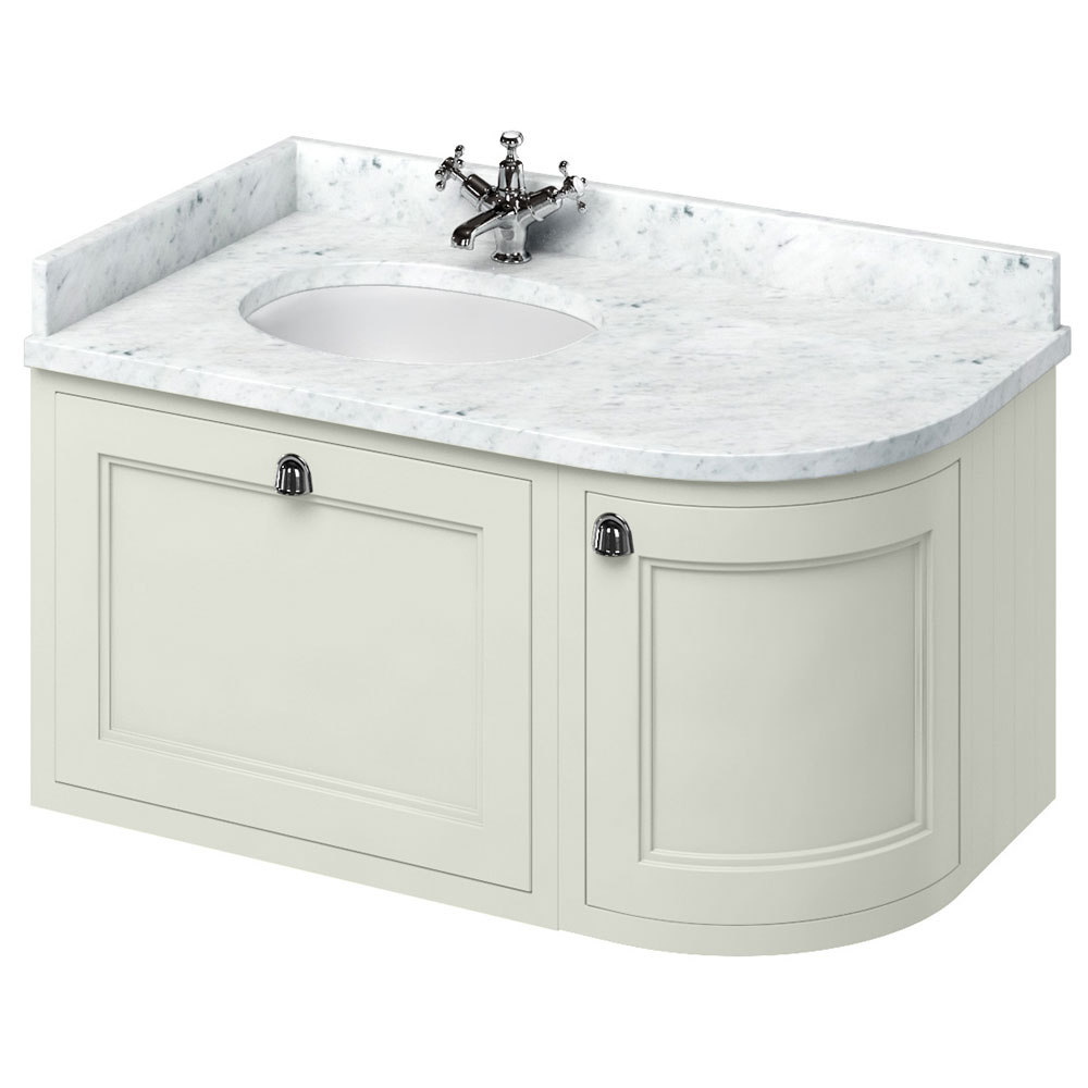 Burlington Wall Hung 100 Curved Corner Vanity Unit & Minerva Worktop with Basin (Sand - Left Hand) L