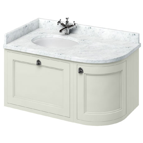 Burlington Wall Hung 100 Curved Corner Vanity Unit & Minerva Worktop with Basin (Sand - Left Hand)