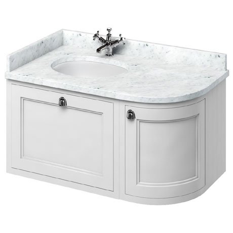 Burlington Wall Hung 100 Curved Corner Vanity Unit & Minerva Worktop with Basin (Matt White - Left H
