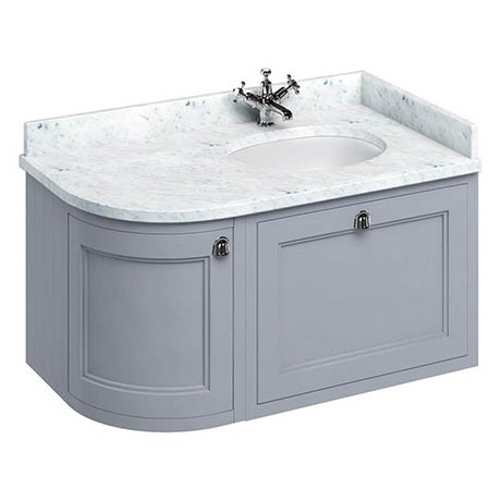 Burlington Wall Hung 100 Curved Corner Vanity Unit & Minerva Worktop with Basin (Classic Grey - Righ