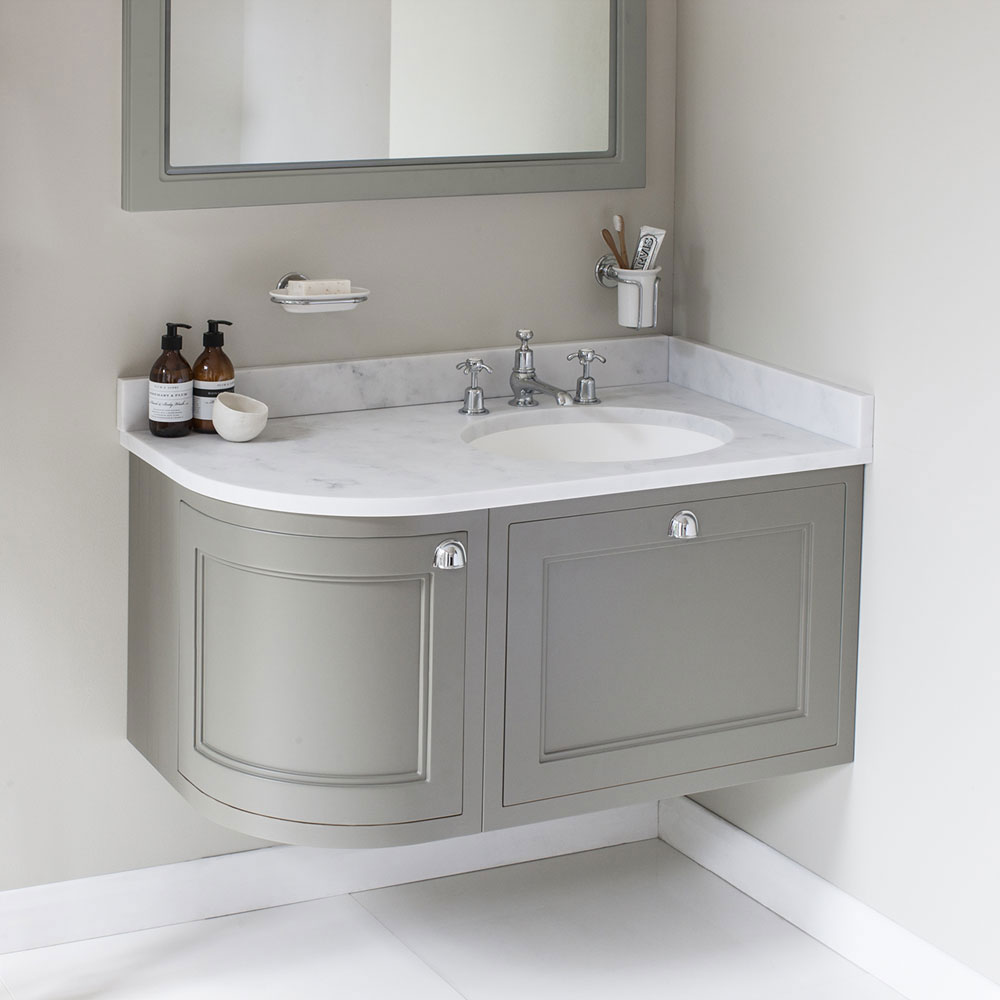 Burlington Wall Hung 100 Curved Corner Vanity Unit & Minerva Worktop with Basin (Matt White - Right Hand) profile large image view 3