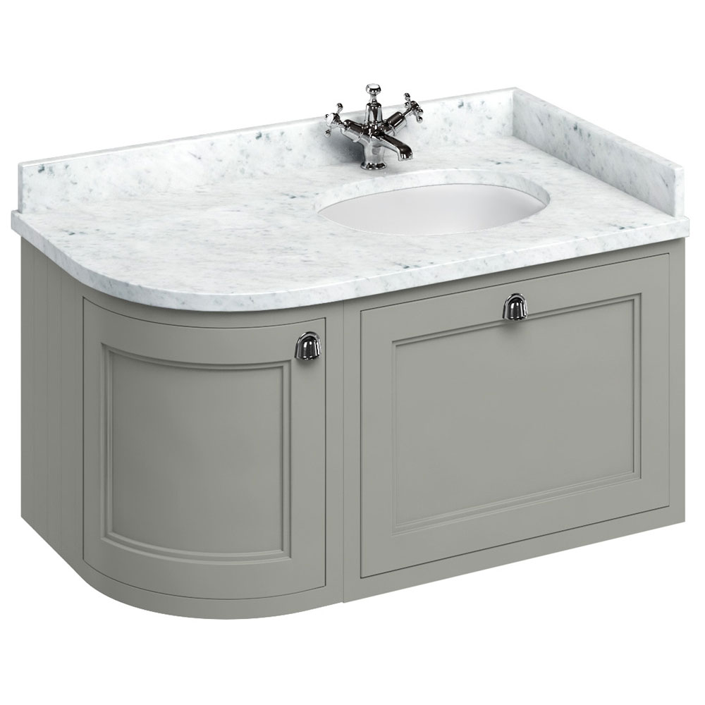 Burlington Wall Hung 100 Curved Corner Vanity Unit & Minerva Worktop with Basin (Dark Olive - Right Hand) Large Image