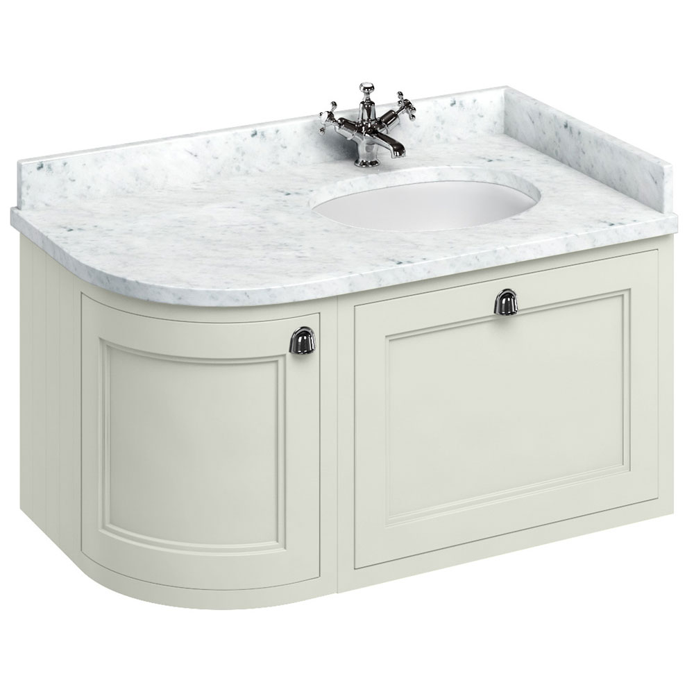 Burlington Wall Hung 100 Curved Corner Vanity Unit & Minerva Worktop with Basin (Sand - Right Hand) Large Image
