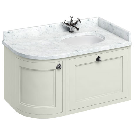 Burlington Wall Hung 100 Curved Corner Vanity Unit & Minerva Worktop with Basin (Sand - Right Hand)