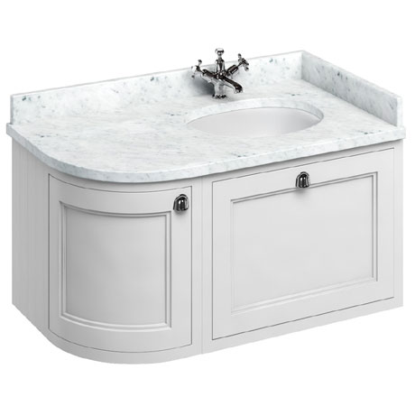 Burlington Wall Hung 100 Curved Corner Vanity Unit & Minerva Worktop with Basin (Matt White - Right