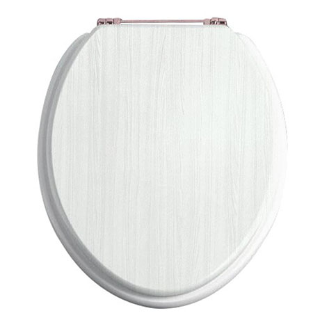 Heritage White Ash Standard Close WC Seat with Rose Gold Hinges - FWA102