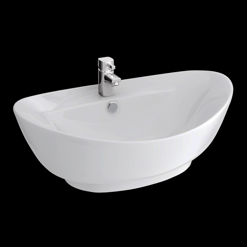 Faro Oval Counter Top Basin with Mono Basin Mixer (600 x 390mm) profile large image view 5