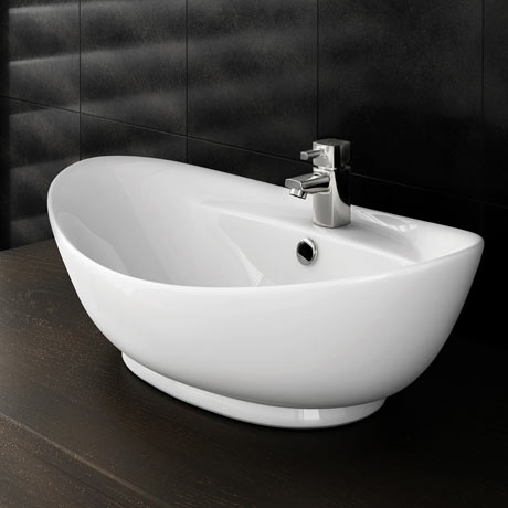 Faro Oval Counter Top Basin with Mono Basin Mixer (600 x 390mm)