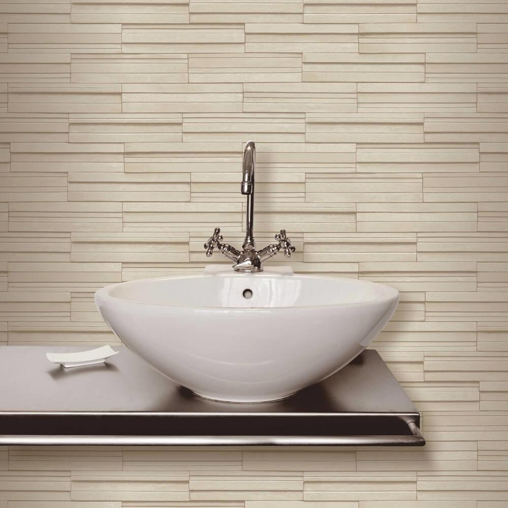 Beige Ceramica Slate Tile Bathroom Wallpaper