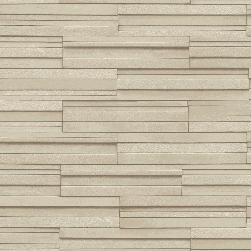 Fine Decor Beige Ceramica Slate Tile Wallpaper Large Image