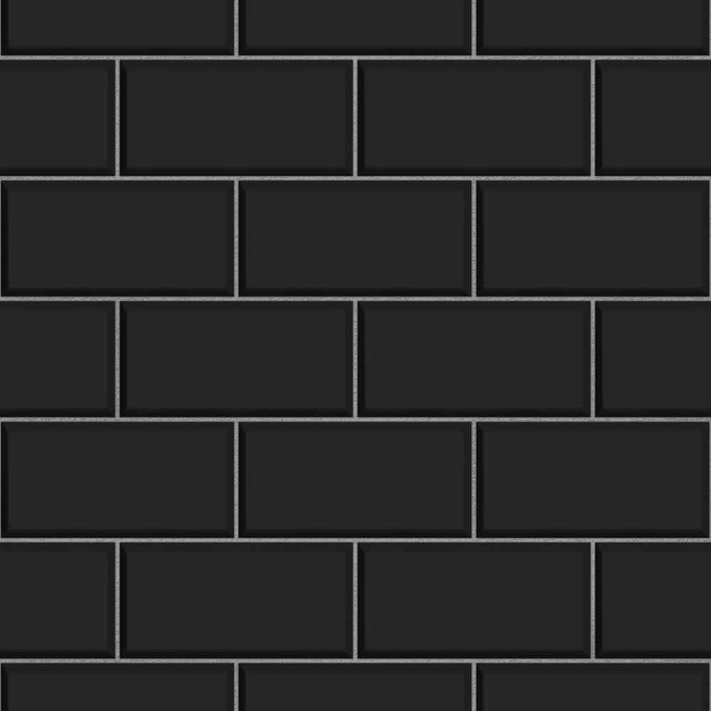 Fine Decor Black Ceramica Subway Tile Wallpaper Large Image