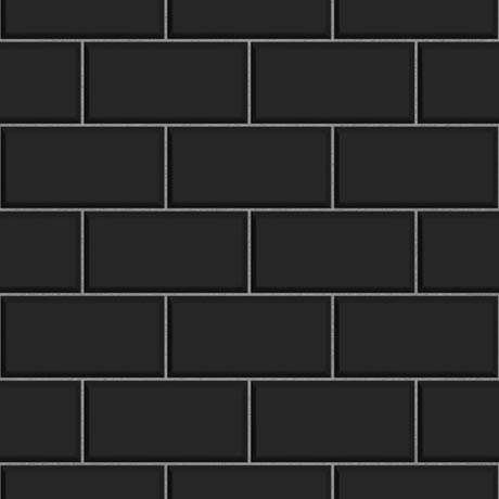 Fine Decor Black Ceramica Subway Tile Wallpaper