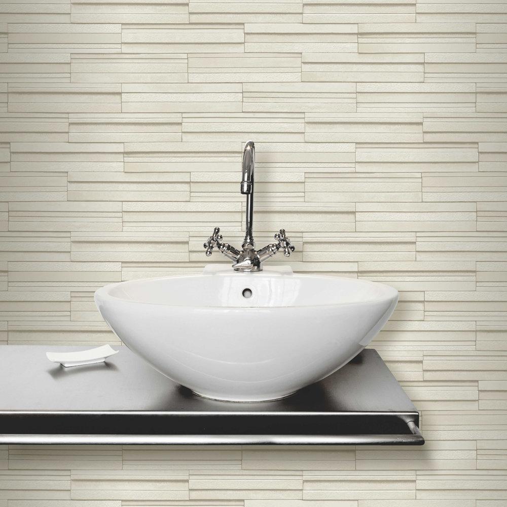 Fine Decor Cream Ceramica Slate Tile Wallpaper Profile Large Image