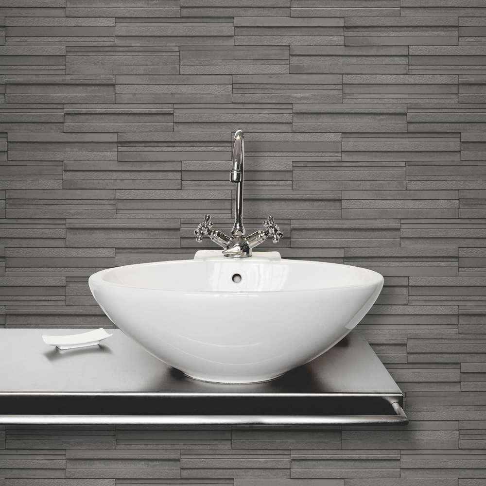 Fine Decor Dark Grey Ceramica Slate Tile Wallpaper profile large image view 2