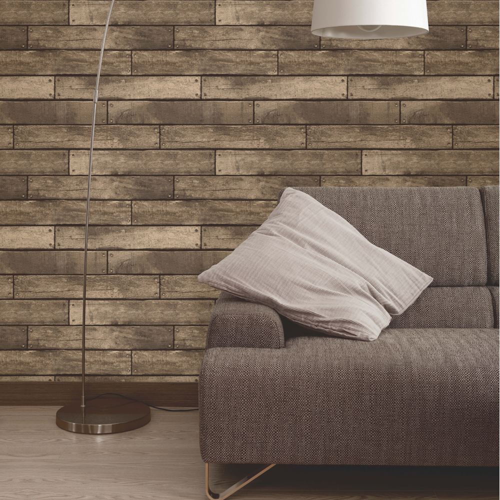 Fine Decor Distinctive Brown Wooden Plank Wallpaper profile large image view 2